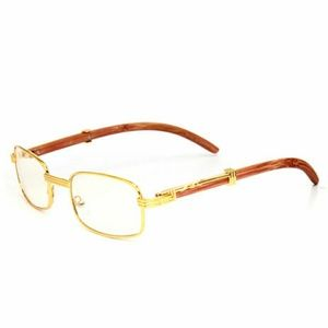 Other - Unisex Faux Wood Gold Frame Clear Glasses